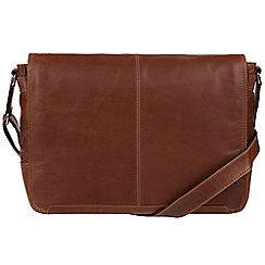 Conkca London - Conker Brown 'Bermondsey' natural leather messenger bag