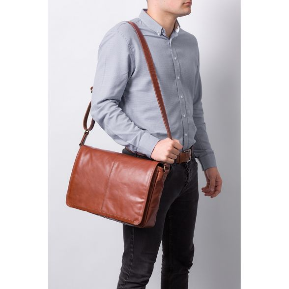 bag leather 'Bermondsey' brown messenger London buffalo Conker Conkca 0XSfqS