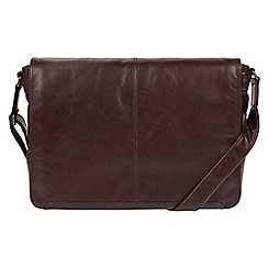 Conkca London - Dark brown 'Bermondsey' buffalo leather messenger bag