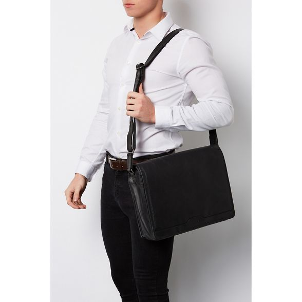 Conkca Black messenger handcrafted 'Islington' leather bag London ppnH0RTr