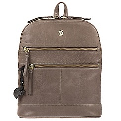 Conkca London - Dark grey 'Francisca' handmade leather backpack