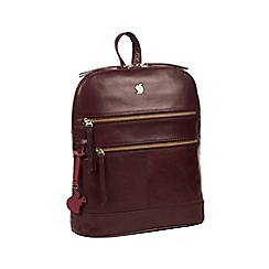 Conkca London - Plum 'Francisca' handcrafted leather backpack