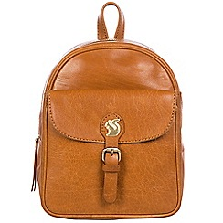 Conkca London - Cognac 'Eloise' handcrafted leather backpack