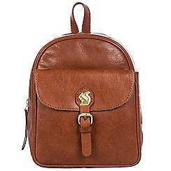Conkca London - Conker brown 'Eloise' handcrafted leather backpack