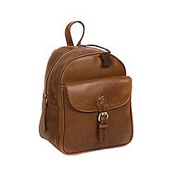 Conkca London - Dark tan 'Eloise' handmade leather backpack