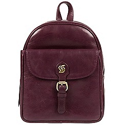 Conkca London - Plum 'Eloise' handcrafted leather backpack