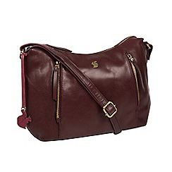 Conkca London - Plum 'Esta' handcrafted leather cross-body bag