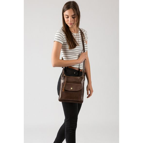 bag brown cross leather handcrafted 'Lauryn' London Dark Conkca body 8Awqgg