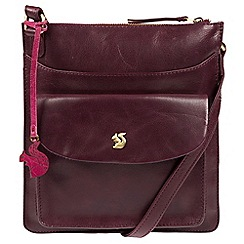 Conkca London - Plum 'Lauryn' handcrafted leather cross-body bag