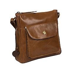 Conkca London - Dark tan 'Shona' handmade leather cross-body bag