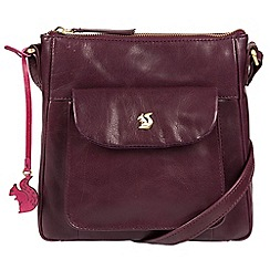 Conkca London - Plum 'Shona' handcrafted leather cross-body bag