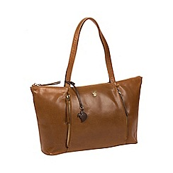 Conkca London - Dark tan 'Clover' handmade leather handbag