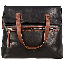 Conkca London - Black and conker brown 'Anoushka' handcrafted leather bag