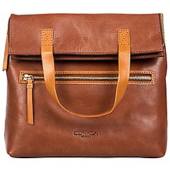 Conkca London - Conker brown and cognac 'Anoushka' handcrafted leather bag