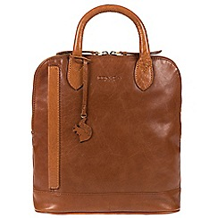 Conkca London - Conker brown and dark tan 'Camille' handmade leather backpack