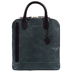 Conkca London - Denim & Navy 'Camille' handcrafted leather backpack