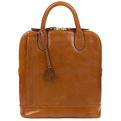 Conkca London - Dark tan 'Camille' handmade leather backpack