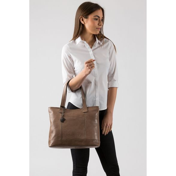 Conkca handmade London leather 'Patience' grey tote bag Taupe rr6Owv
