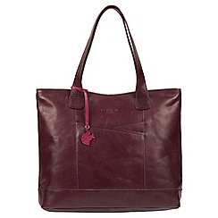 Conkca London - Plum 'Patience' handmade leather tote bag