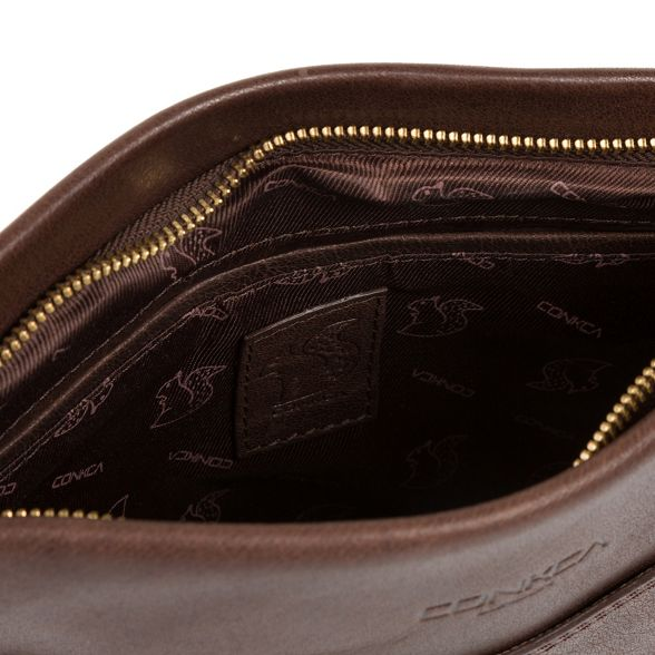 body cross bag Conkca leather handcrafted London 'Dink' Dark brown HYZ10fq