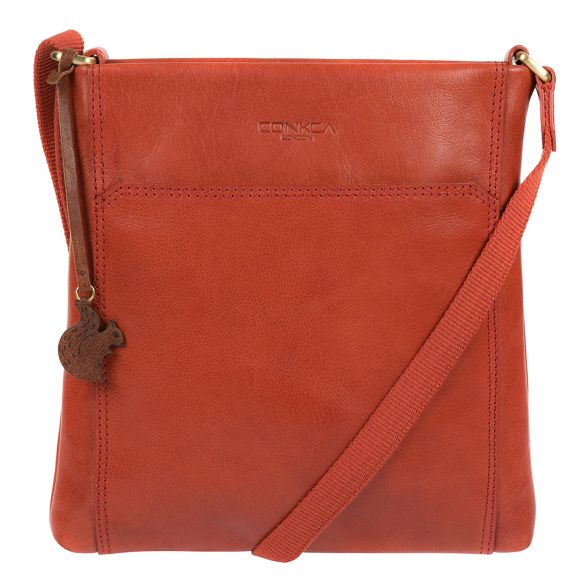 bag leather Burnt cross handcrafted orange Conkca London 'Dink' body a88Uq