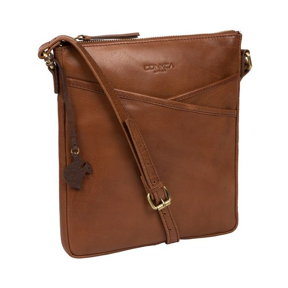 bag 'Avril' brown Conker cross Conkca leather London body hancrafted t8f6cqZw