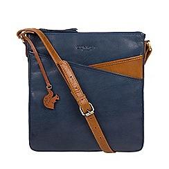 Conkca London - Snorkel blue & dark tan 'Avril' leather cross-body bag