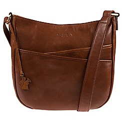 Conkca London - Conker Brown 'India' handcrafted leather crossbody bag
