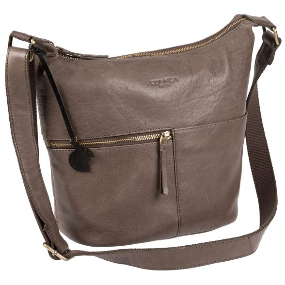 handcrafted bag 'Kristin' London Conkca leather Brown Cz6w7Bxtq