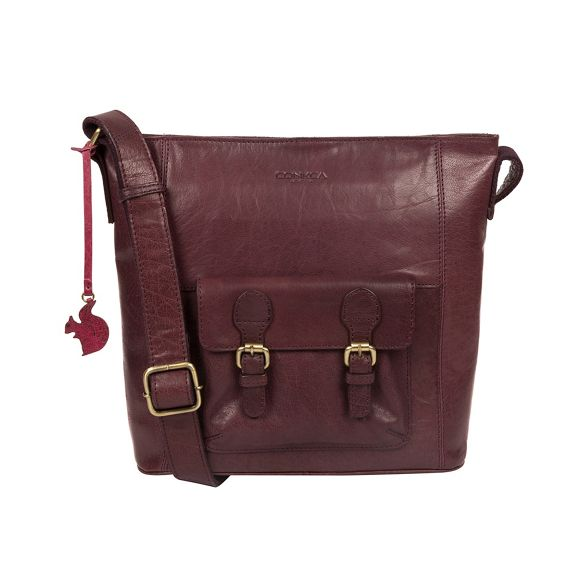 handcrafted crossbody leather bag 'Robyn' London Conkca Plum xwqUvZtOC