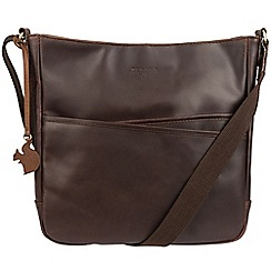 Conkca London - Brown 'Bow' handcrafted leather cross-body bag