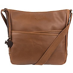 Conkca London - Chestnut 'Bow' handcrafted leather cross-body bag