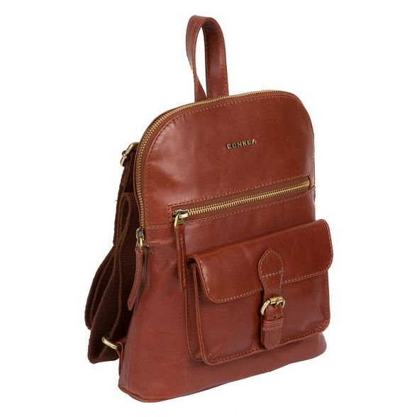 Cognac leather London backpack Conkca handcrafted small 'Grove' 6qAZZwfH