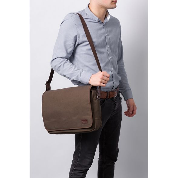 Conkca and messenger canvas London Khaki bag leather 'Balham' 6S1T6rAqw