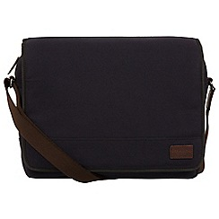 Conkca London - Navy 'Balham' canvas and leather messenger bag