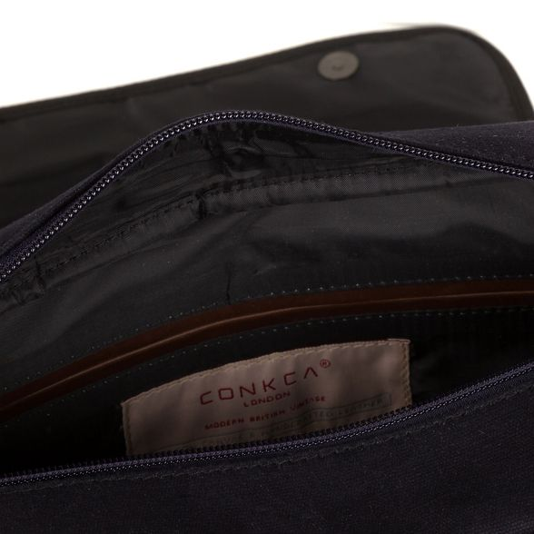 canvas Navy London bag 'Balham' leather messenger Conkca and B6zgnqf