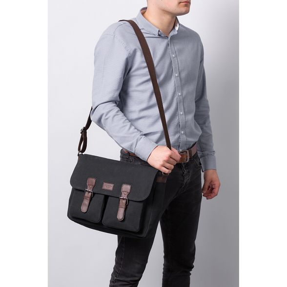 canvas leather messenger 'Newington' Vintage London black Conkca bag and qnxAI1wnWB