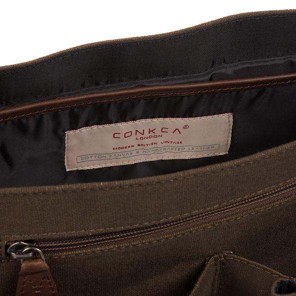 Khaki messenger bag and leather London canvas Conkca 'Newington' 5qwnxHB64