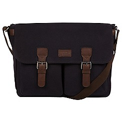 Conkca London - Navy 'Newington' canvas and leather messenger bag
