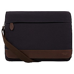Conkca London - Navy 'Deptford' canvas and leather messenger bag