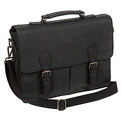Conkca London - Vintage black 'Bennet' leather messenger bag