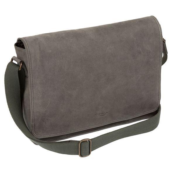 Conkca messenger bag 'Bolt' Vintage London grey leather BS8RBg