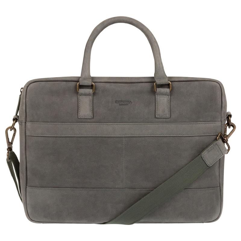 Conkca London - Vintage Grey Grafton Leather Messenger Bag