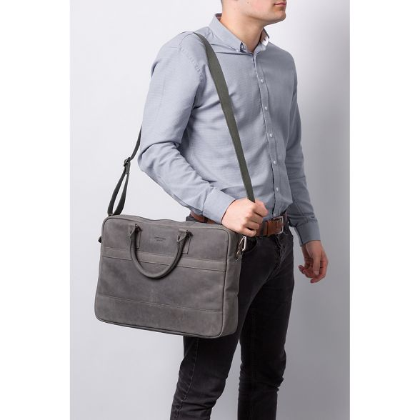 Conkca grey Vintage London leather bag messenger 'Grafton' qEEzwxFH5r