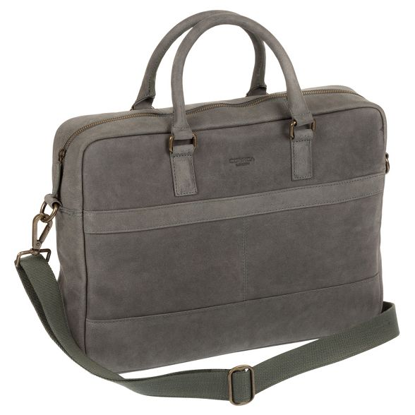 Conkca London messenger leather Vintage bag grey 'Grafton' ZO7PZ