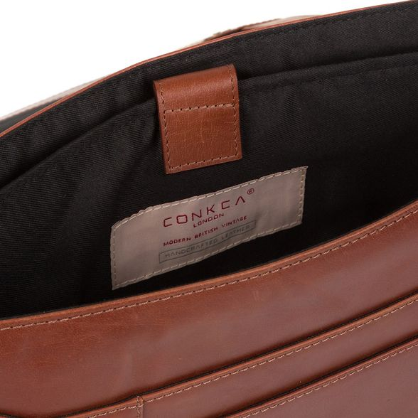 Conker bag London leather Conkca messenger brown 'Bolt' Pz656qw