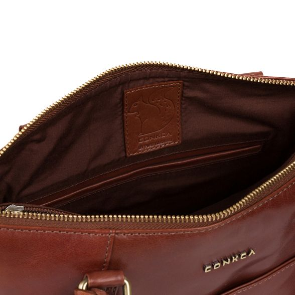 Conkca bag London tote 'Eva' Cognac handcrafted leather WqW4aAUFTw