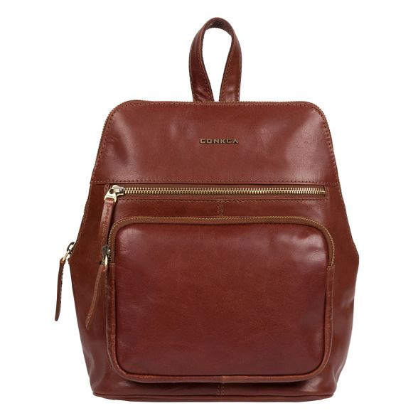 Conkca backpack 'Jackie' leather handcrafted Cognac London WRUS4WY
