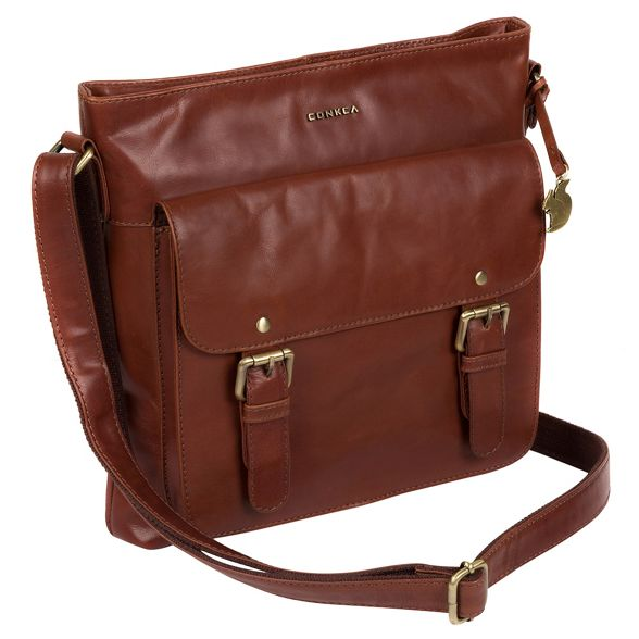 bag 'Mimosa' handcrafted London Cognac body cross Conkca leather qOzHFawA0x