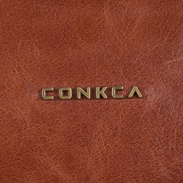 cross Conkca handcrafted London bag Cognac leather body 'Raffaela' taXaw